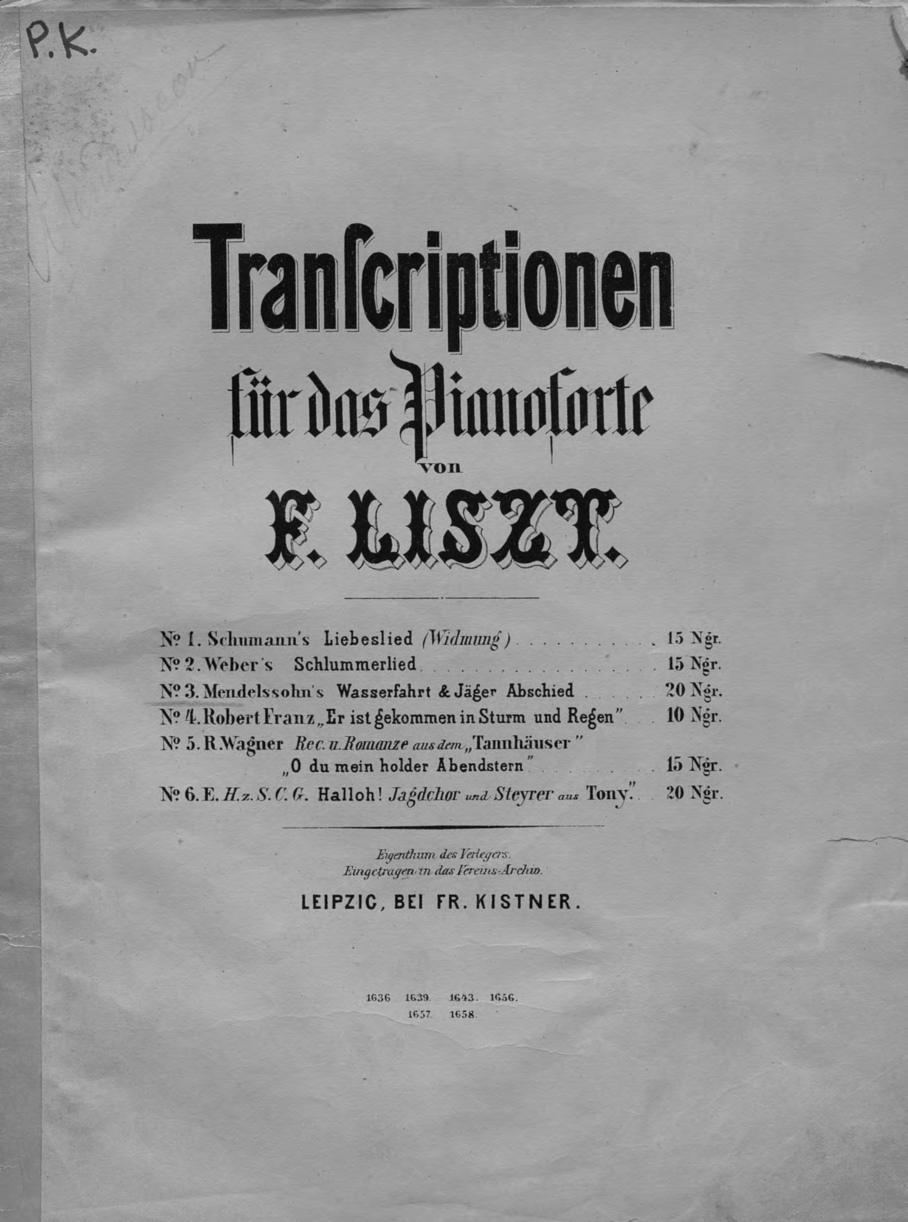 Mendelssohn's Wasserfahrt&Jager Abschied fur das Pianoforte ubertragen v. F. Liszt