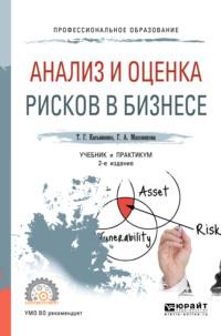 Обложка «Анализ и оценка рисков в бизнесе 2-е изд., пер. и доп. Учебник и практикум для СПО»