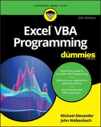 Обложка «Excel VBA Programming For Dummies»