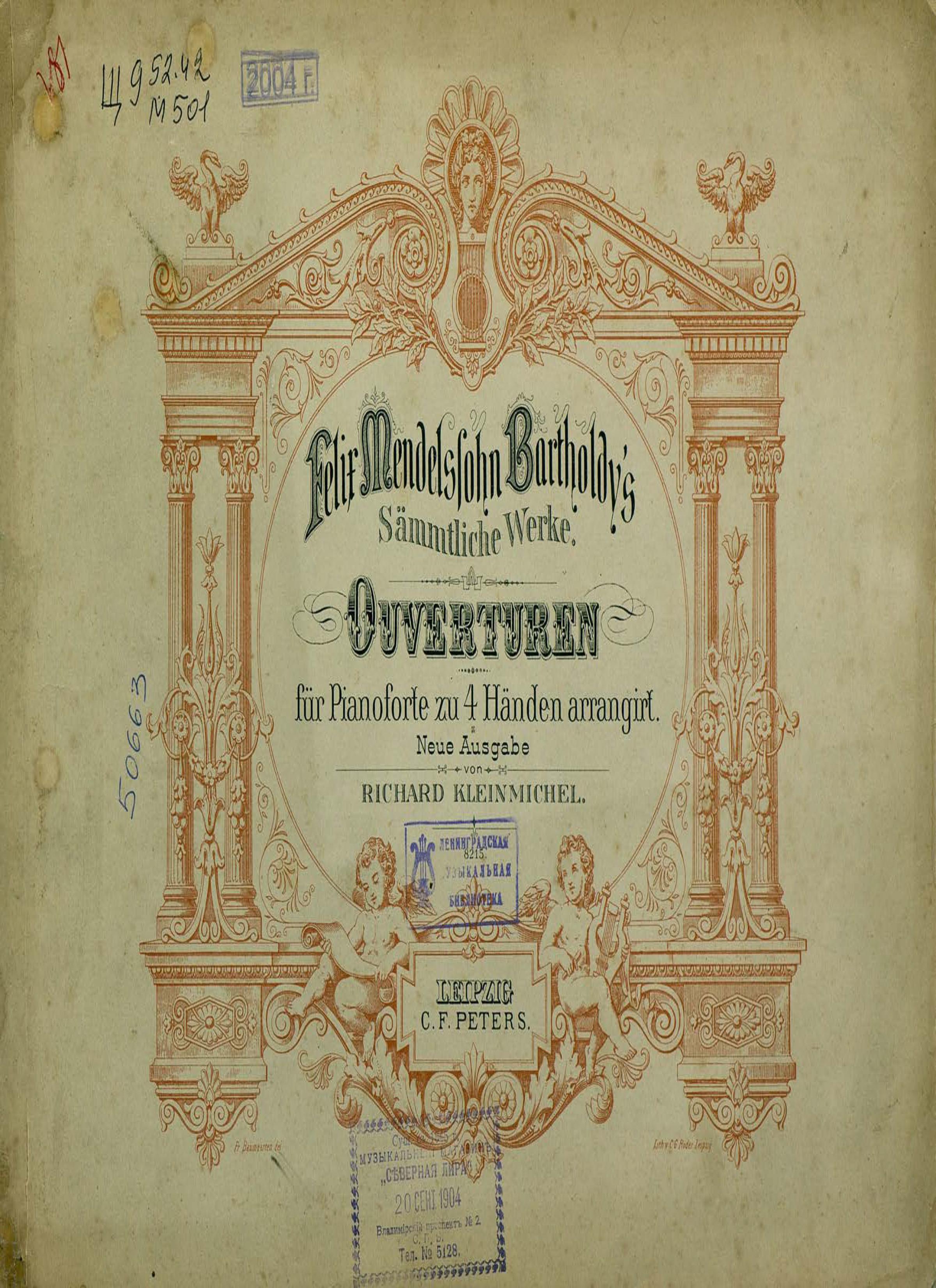 Феликс Мендельсон-Бартольди Ouverturen fur Pianoforte zu 4 Hd. arr.