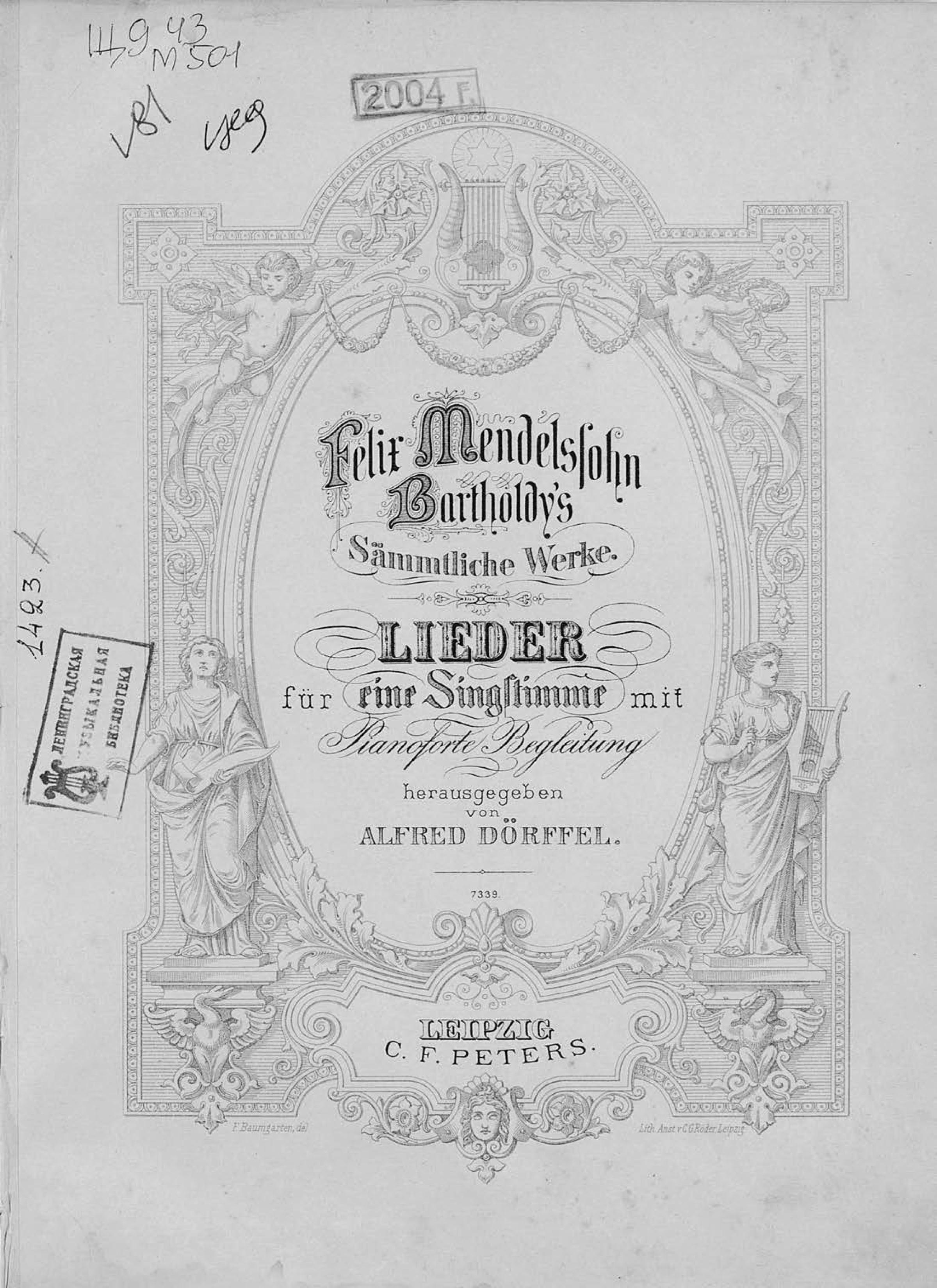 Феликс Мендельсон-Бартольди Lieder fur eine Singstimme mit Pianoforte Begleitung