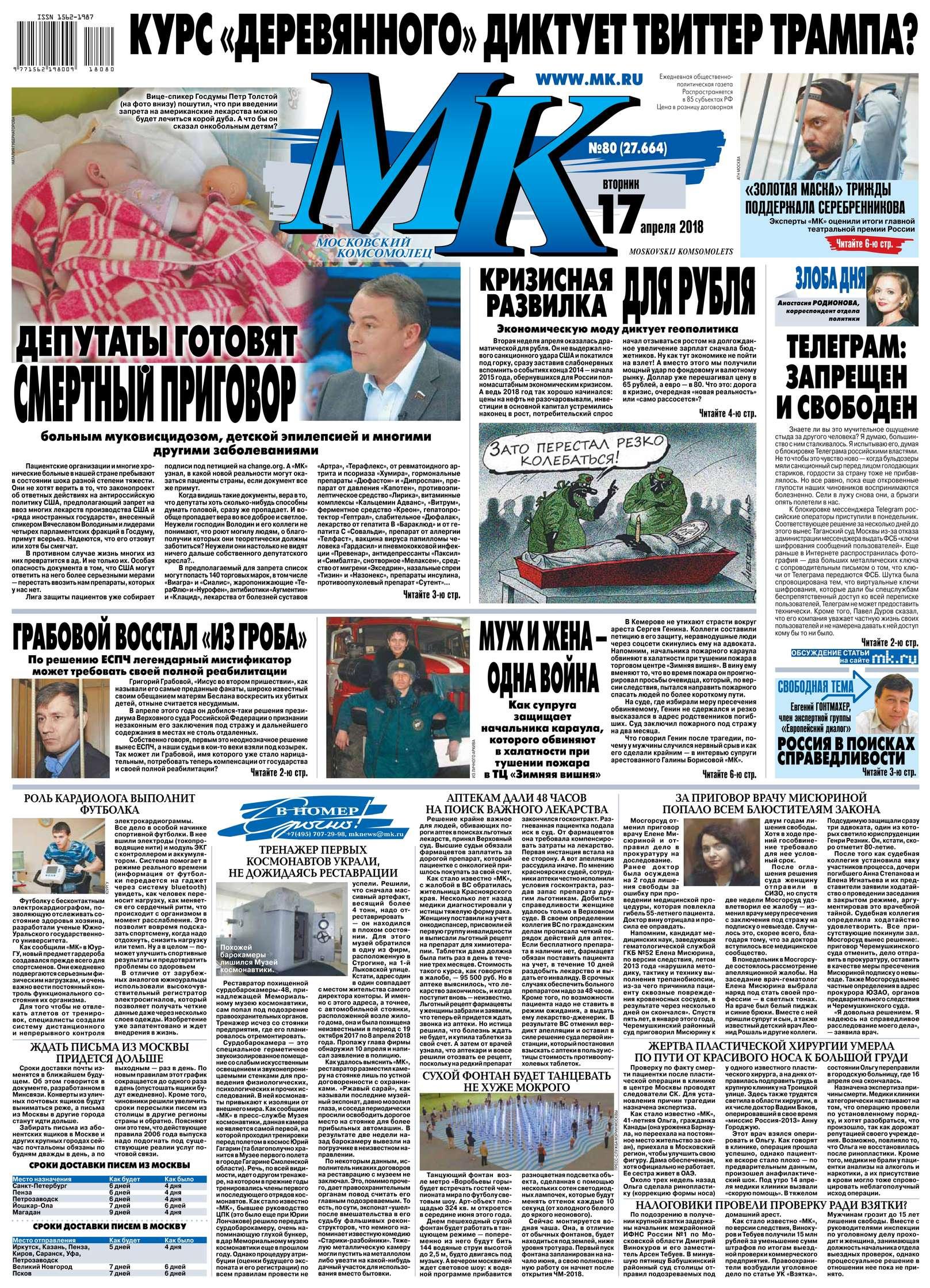 Редакция газеты МК Московский Комсомолец МК Московский Комсомолец 80-2018 цена 2017