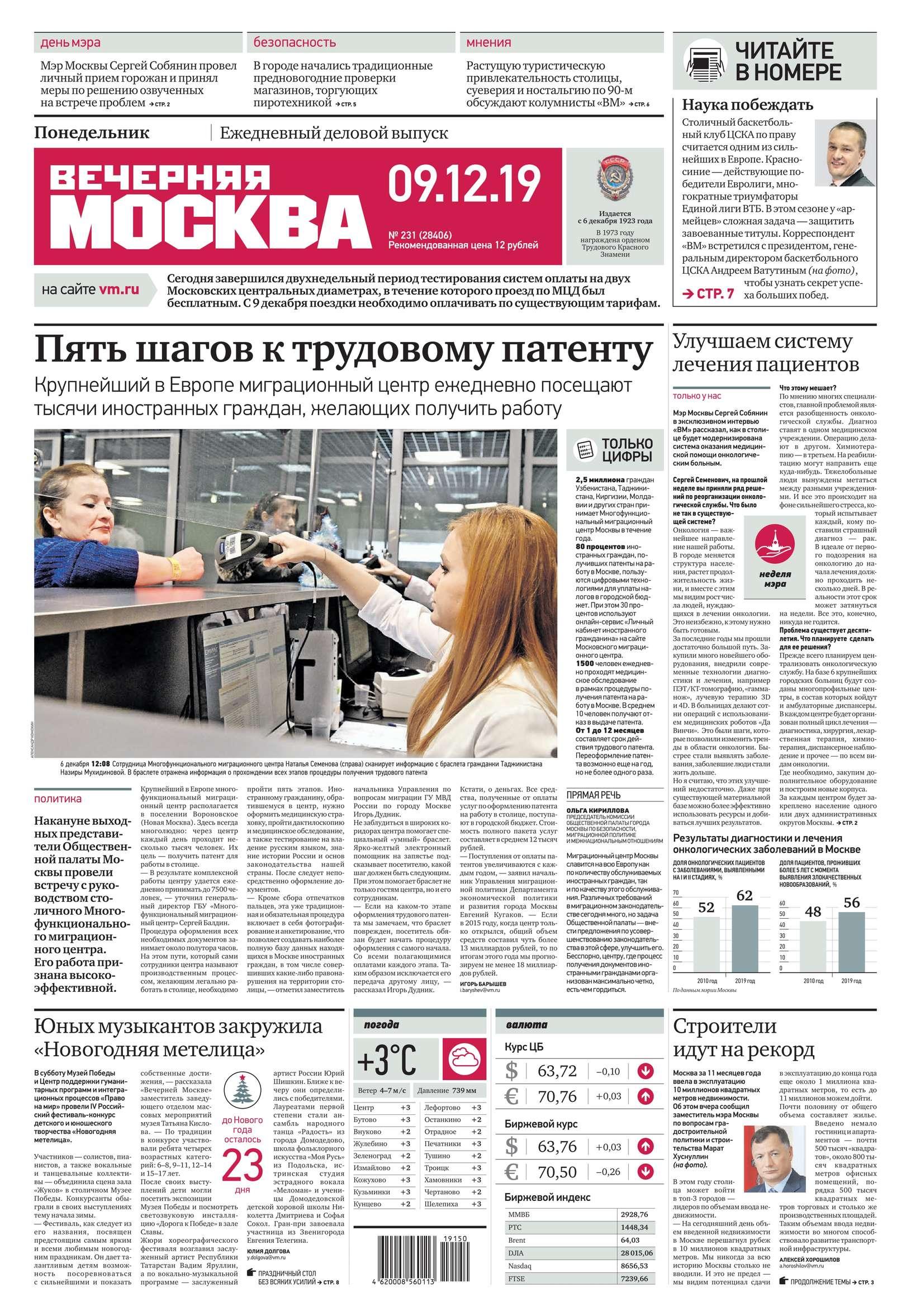 Редакция газеты Вечерняя Москва Вечерняя Москва 231-2019