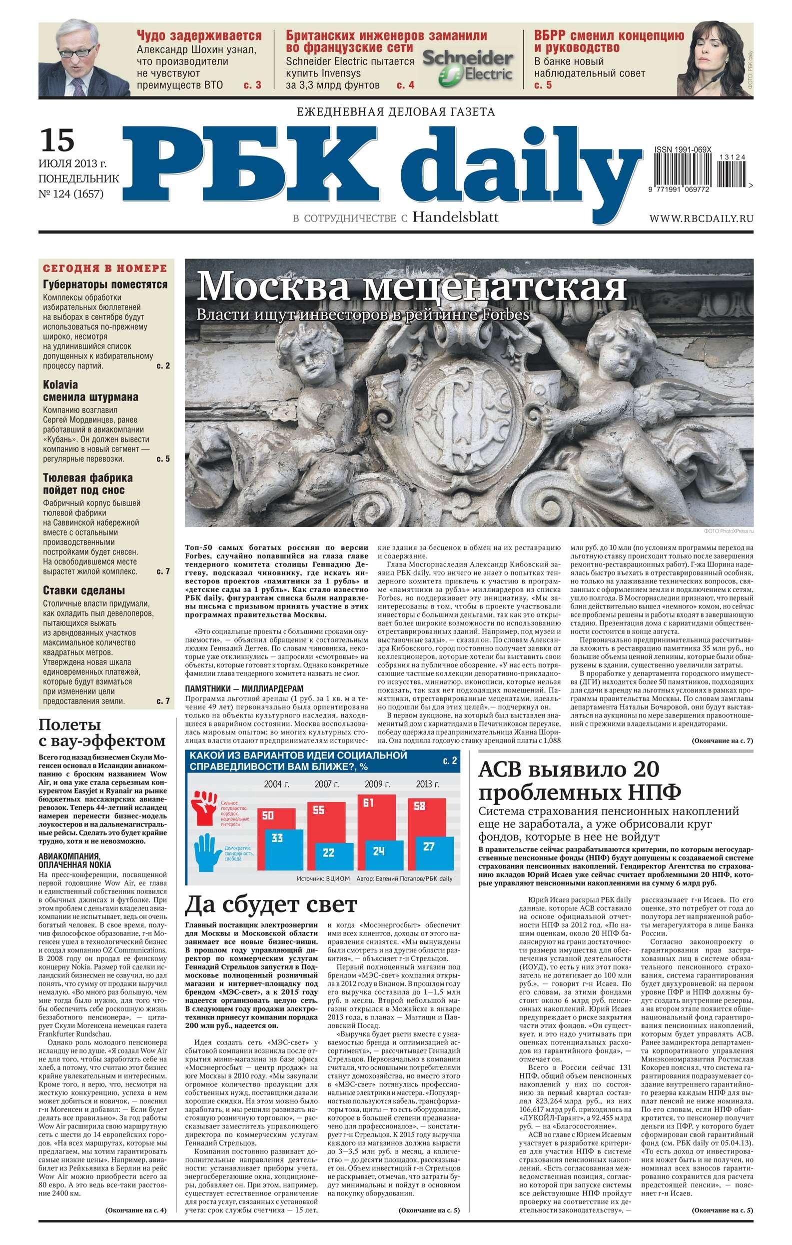 Ежедневная деловая газета РБК 124